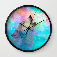hobbes Wall Clocks featuring Breathing Dreams Like Air (Wolf Howl Abstract) by soaring anchor designs