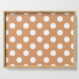 Big Foot Feet - pink - White Polka Dots - Pois Pattern Serving Tray