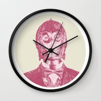 c3po Wall Clocks featuring C3PO by NJ-Illustrations