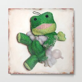 Loved to Pieces Frog Dog Toy Metal Print