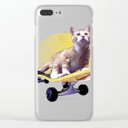 Cat graphic, Skateboard design, Animals on Skateboards Clear iPhone Case