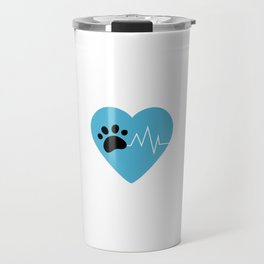 Blue Dog Paw Heartbeat Line Dog Lover Heartbeat Travel Mug