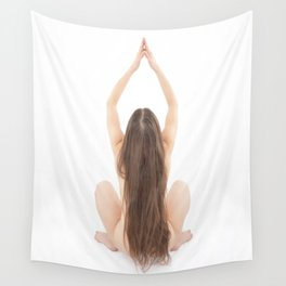 6828-JAL Beautiful Long Hair Girl Yoga From Behind by Chris Maher Wall Tapestry
