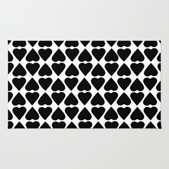 Diamond Hearts Repeat Black Rug
