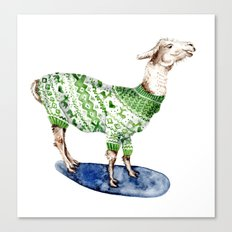 Llama in a Green Deer Sweater Canvas Print