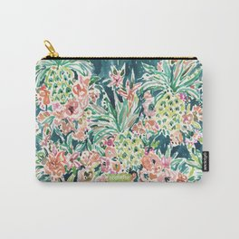 PINEAPPLE PARTY Lush Tropical Boho Floral Carry-All Pouch