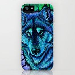 Blue Wolf Aurora Colorful Fantasy iPhone Case