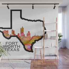 Texas State Map with Fort Worth Skyline Wall Mural