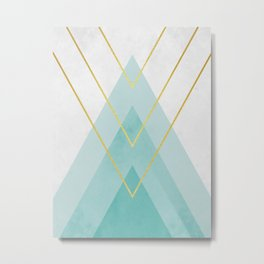 Blue and gold triangles Metal Print