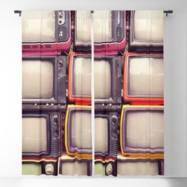 Wall of pile colorful retro television (TV) Blackout Curtain