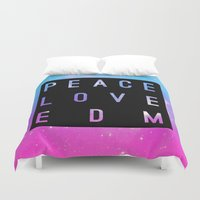 edm Duvet Covers featuring Peace Love & EDM by Rachel Buske