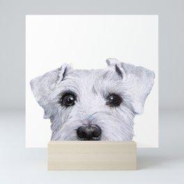 Schnauzer White Dog original painting print Mini Art Print