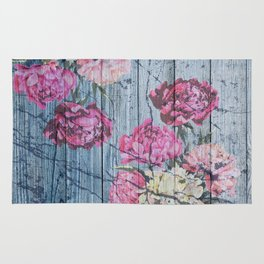 Shabby chic with painted peonies Rug