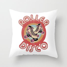 Roller Disco Derby 1970s 1980s Vintage & Distressed Throw Pillow