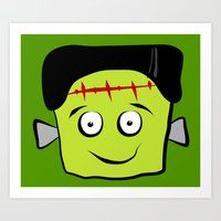 frankenstein Art Prints featuring Frankenstein by Jessica Slater Design & Illustration