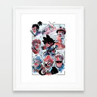dragonball Framed Art Prints featuring Dragonball - Muscle Tower  by Toonimated