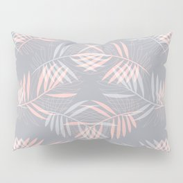 Palm leaves lace pattern on grey Pillow Sham