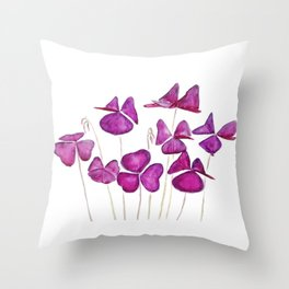 purple clover leaves Throw Pillow