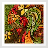 rooster Art Prints featuring Rooster by Cat Thurman