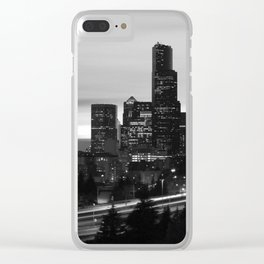 Seattle Skyline Sunset City - Black and White Clear iPhone Case