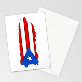 Puerto Rico Map with Puerto Rican Flag Stationery Cards