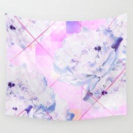 Geometric Hot Pink Peonies Flowers Design Wall Tapestry