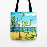 volleyball Tote Bags featuring Olympic Volleyball Frog by Zoo&co on Society6 Products