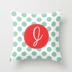 Monogram Initial J Polka Dot Throw Pillow