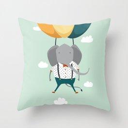 Elephant in flight Throw Pillow