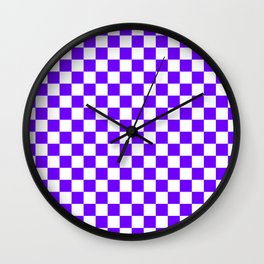 White and Indigo Violet Checkerboard Wall Clock
