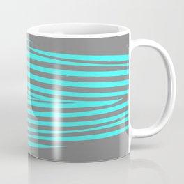 Aqua & Gray Stripes Coffee Mug