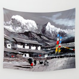 Panoramic View Of Everest Base Camp Wall Tapestry