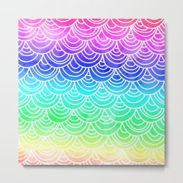 Modern summer scallop fish scale watercolor neon gradient pattern Metal Print