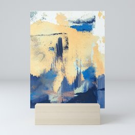 Lemon drop: a minimal, abstract mixed-media piece in yellow and blue Mini Art Print