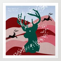 merry christmas Art Prints featuring merry christmas by mark ashkenazi