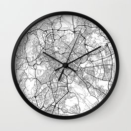 Rome Map White Wall Clock