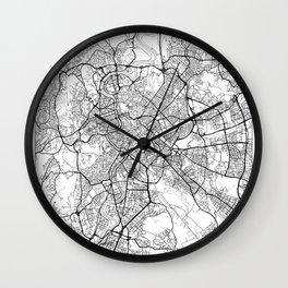 Rome Map White Wall Clock
