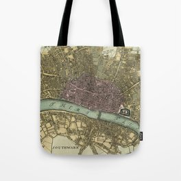 Vintage Map of London England (1740) Tote Bag
