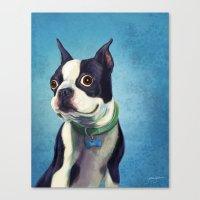boston terrier Canvas Prints featuring Boston Terrier by Jackie Sullivan