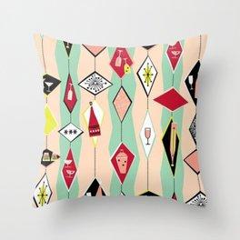 Retro, 1950's Diamond Pattern, Pink, Turquoise Throw Pillow