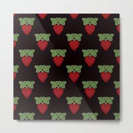 Strawberry fun . Children's colorful pattern . Metal Print