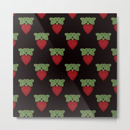 Strawberry fun . Children's colorful pattern . Metal Print