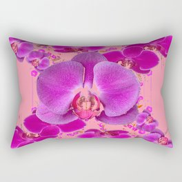 Modern Purple Moth Orchids Coral Color Rectangular Pillow