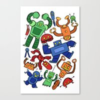 robots Canvas Prints featuring Robots by Sara Goetter