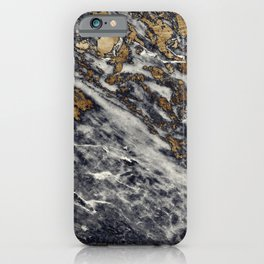 Dark Blue Marble with Gold Speckles iPhone Case
