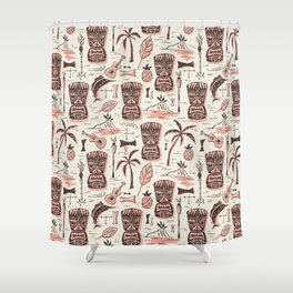 Tropical Tiki - Cream Pink Shower Curtain