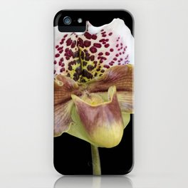 isolated orchid on black background iPhone Case