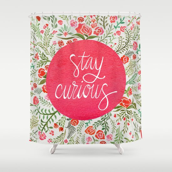 Stay Curious – Pink & Green Shower Curtain
