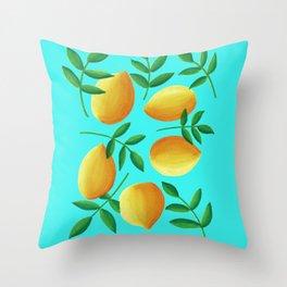 Lemons on Teal Throw Pillow