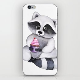 Cute watercolor raccoon with cupcake iPhone Skin